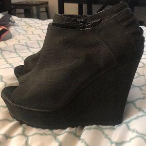 Charlotte Russe peep toe wedged booties